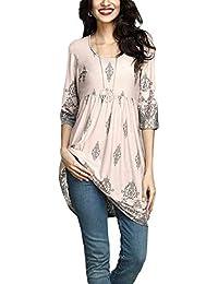 Casual Floral Print 3/4 Sleeve O Cuello Camiseta Mini Vestido Blusa Top