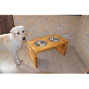 Extra hohe Hundebar inklusive zwei Edelstahlnäpfen