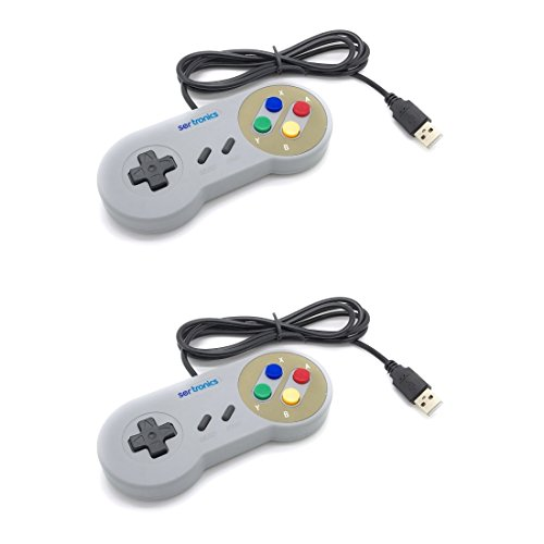 USB 2.0 Controller/Gamepad im SNES Design grau - 2er Set - passend für: Windows PC, Mac, Linux, Raspberry Pi/RetroPie (Controler Snes Für Pc)