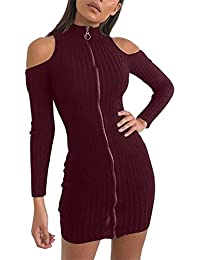 Ninimour Womens Cold Shoulder Zipper Front Knit Sweater Bodycon Dress