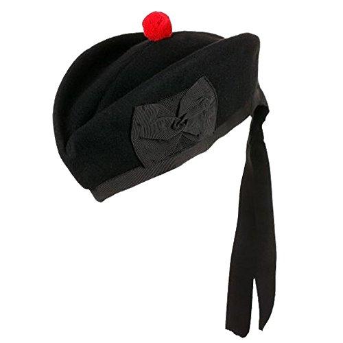 TC New Scottish Highland Uni Schwarz Glengary Hat Reine Wolle/Piper Glengarry Gap,...