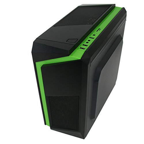 Gaming PC Package Deal: CIT F3 Black-Green Computer Case with Green Fans - Intel Core i5 Quad Core 3.10GHz CPU - Fast 16GB DDR3 Memory - Massive 2TB HDD - Nvidia GeForce 2GB Graphics Card - Genuine Windows 10 Home 64Bit CoA License - FREE WiFi Dongle and Gaming Keyboard and Mouse