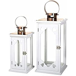 Faroles portavelas románticos blancos de madera para decoración France