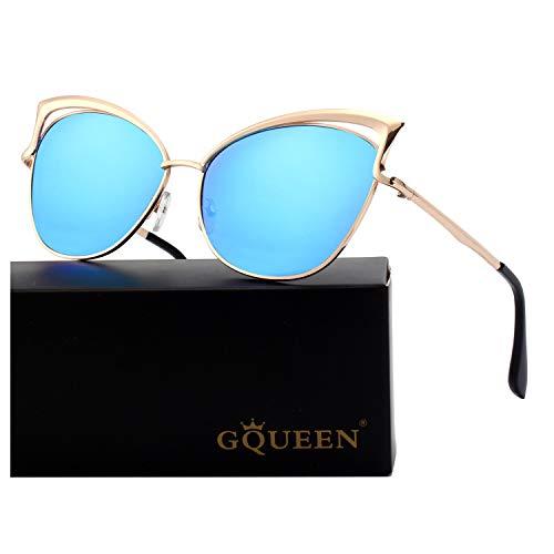 GQUEEN Mode Polarisierte übergroße Katzenaugen CatEye Sonnenbrille Damen Frau Gespiegelte Verspiegelt Linse Metallrahmen Cat Eye Sunglasses MT3...