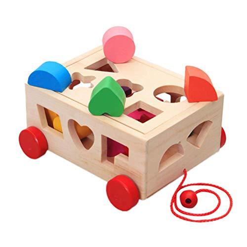 STOBOK Baby Sortierbox Holz Auto Spielzeug Kinder Steckspiel Geometrische Lernspielzeug 15 Löcher