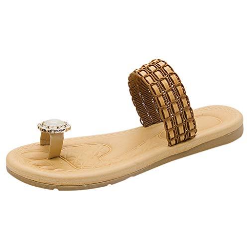 jfhrfged Damenmode Flip Flops gewebt Schuhe Freizeitschuhe Strass Accessoires Flache Hausschuhe Flache Sandalen Flip Flops (Gelb, 36)