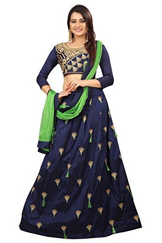 Alazra Creation Women\'s Tappeta Silk Lehenga Choli (Blue,Free Size, Semi-Stitched)