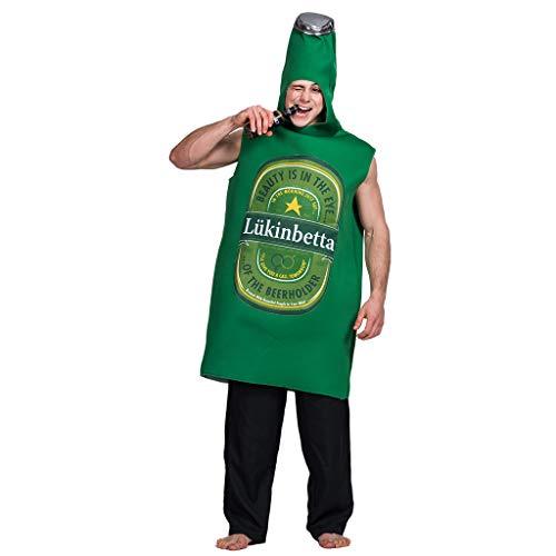 Kostüm Bierflasche Grüne - EraSpooky Unisex Bierflasche Kostüm Ausgefallene Faschingskostüme Einteiler Halloween Party Karneval Fastnacht Kleidung für Erwachsene Herren Damen