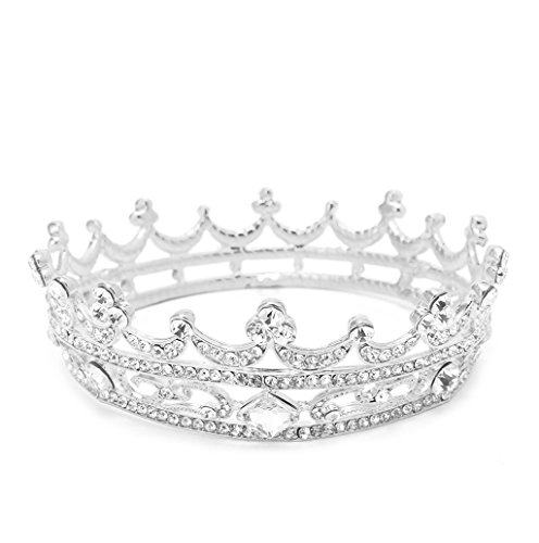 Dairyshop Gioielli spettacolo pieno intorno tiara nuziale Corona sposa strass copricapo dei capelli (Argento) Argento