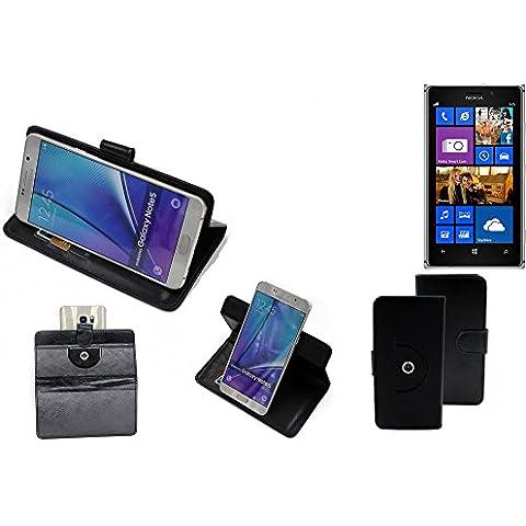360° Funda Smartphone para Nokia Lumia 925, negro | Función de stand Caso Monedero BookStyle mejor precio, mejor funcionamiento - K-S-Trade