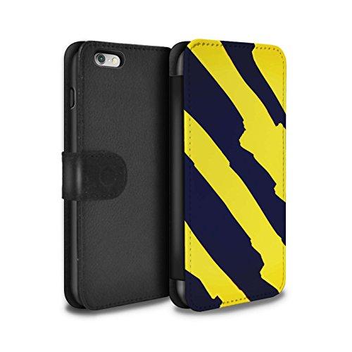 Stuff4 Coque/Etui/Housse Cuir PU Case/Cover pour Apple iPhone 6S+/Plus / Citron/Bleu Cercles Design / Mode Jaune Collection Zèbre Bande Modèle