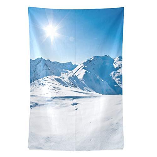 Schöne Winter Schnee Berg Wandteppich Wandbehang Cool Post Print Für Wohnheim Home Wohnzimmer Schlafzimmer Tagesdecke Picknick Bettlaken 80 X 60 Zoll