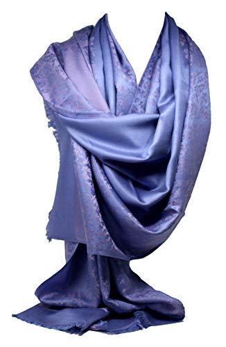 Bullahshah Calidad dos caras impresión auto relieve Pashmina sentir abrigo bufanda estola chal (Lila Rosa Paisley)