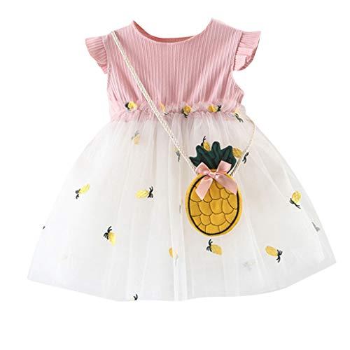 VJGOAL Mädchen Kleider, Kind Baby Süß Ärmellos Rüschen Prinzessin Kleid Ananas Stickerei Nähen Netzrock Dresses for Girl ()