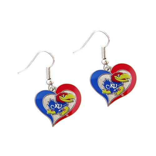 NCAA Kansas Jayhawks Sports Collegiate Team Logo Swirl Heart Shape Dangle Earring Set by aminco