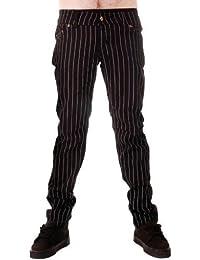 Hommes Tube Jeans Pinstripe Punk Rock Glam Rétro Indie Vintage Goth Office 28 30 32 34 36