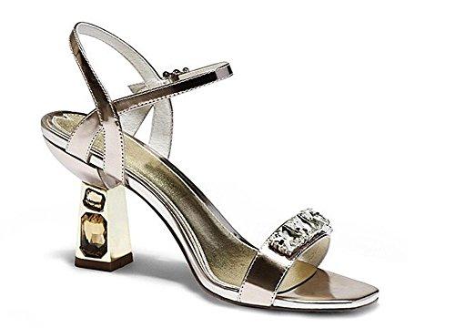 PBXP Andals Open-Toe Frauen Sommer Pumpe Strasssteine ??Dekoration Chunky Mid Heel Knöchelriemen Elegante Sandalen Gold Silber Europa Größe 33-39 Gold