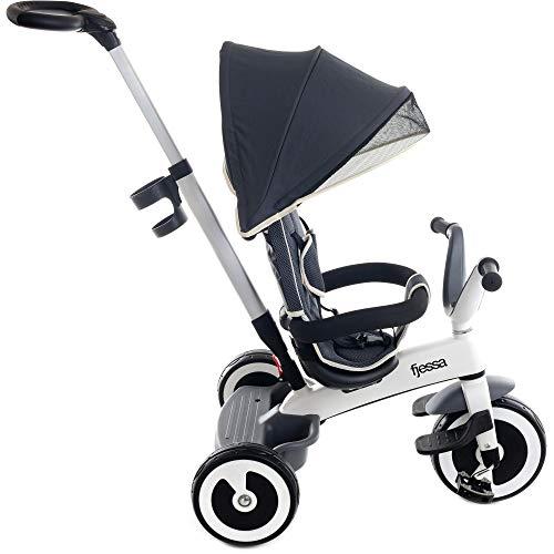 FJESSA City 4in1 Dreirad Kinderdreirad Kinder Fahrrad Kinderwagen Buggy Baby Kleinkinder Kinderdreirad mit lenkbarer Schubstange und Sonnendach, mit Flüsterleise Gummireifen ab 9 Monate (Grau)