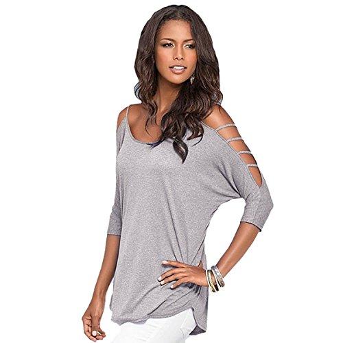 Butterme Damen Sommer Ausschnitt Bügel Schulterfrei T-Shirt Bluse Tunika Top (Grau,M)