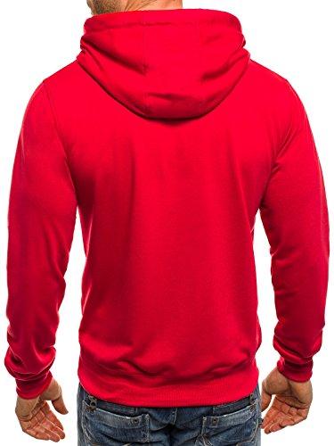 OZONEE Felpa Uomo Felpa con cappuccio Maglia a maniche lunghe Pullover felpa Sportivi STREET STAR 7038 Rosso
