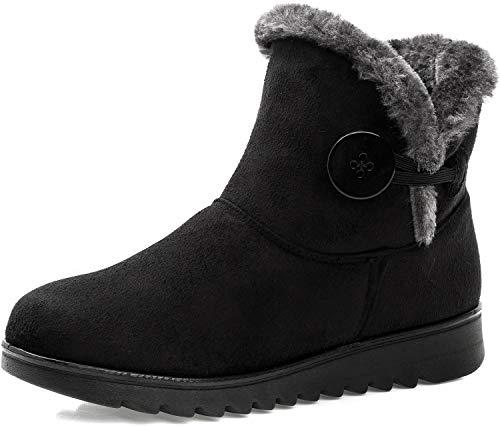 Zapatos Invierno Mujer Botas de Nieve Forradas Calientes Zapatillas Botines Planas con Cremallera Casuales...