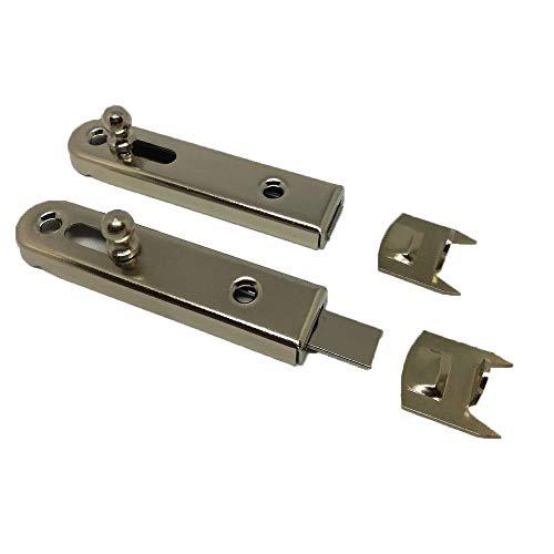 SIMON Möbelriegel | Schubriegel | Schrankriegel | Türriegel | Beschlag | gerade | vernickelt | inkl. Schliessblech | 50 mm | 2 Stück