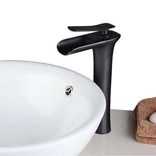 Waschtischarmatur Wasserfall Wasserhahn Bad Mischbatterie Badarmatur Waschbeckenarmatur Waschbecken Badezimmer Hoch Öl eingerieben Bronze,Beelee BL9009BH (Waschbecken Wasserhahn öl Eingerieben Bronze)