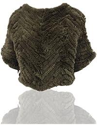 Uilor® Breve hecho punto conejo Rex mantón de la piel 2/3 mangas de la chaqueta