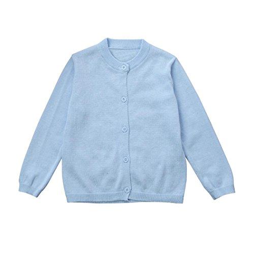 LCLrute Neue Kleinkind Kid Jungen Mädchen Kleidung Gestrickte Bunte Solide Pullover Strickjacke Mantel Tops (18M, Blau) Kleinkind-blau Strickjacke
