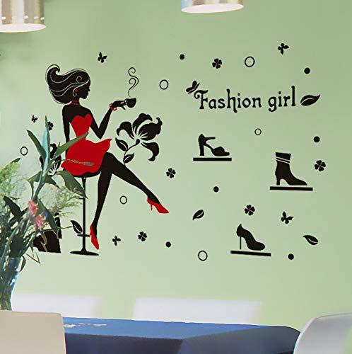 Schuhe Beauty Salon Vinyl Wandaufkleber Mode Mädchen Zitat Shopping Frau Mädchen Zimmer Make-up Wandaufkleber Kreative Wand Aufkleber Wandbild
