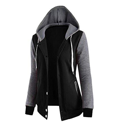 Baymate Femme Hiver Manteau Veste à Capuche Hoodie Sport Sweat-shirt Sport fermeture Éclair Hauts Tops Pullover Noir
