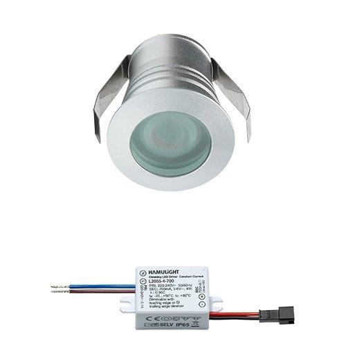 LED Einbaustrahler Burgos | Einbauleuchten / Deckenstrahler / Einbauspots / Einbaulampen / Downlight / Deckenspots / Deckeneinbauleuchten | 3W / Rund / Dimmbar / Flach / 230V / IP65 / Warmweiß