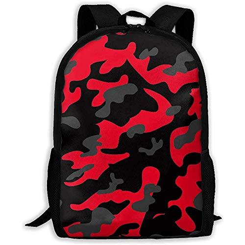 Zaino per laptop,zaino da esterno multiuso,zaino impermeabile casual,bookbag per scuola college,borsa leggera per spalle,- fantastico camouflage militare rosso nero mimetico