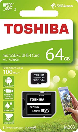Toshiba M203 64GB Class 10 MicroSDXC 100MB Memory Card with Adapter (THN-M203K0640A2)