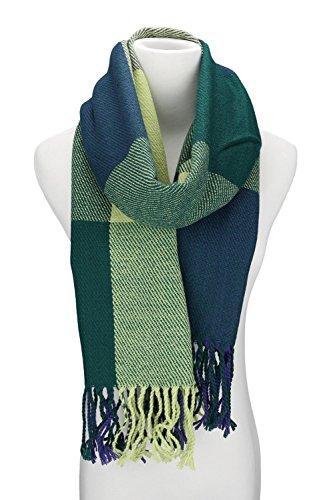 Mujeres caliente Mantas Cozy Pashmina bufanda larga tartán enrejado mantón (azul verde)