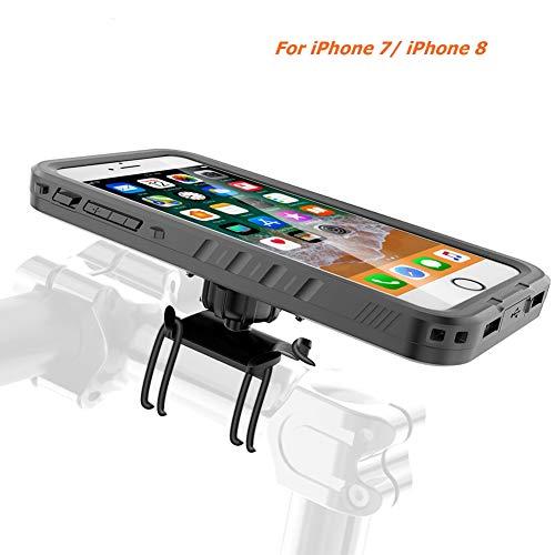 Tianhaixing porta cellulare, supporto smartphone bici & custodia iphone (custodia iphone 7/8, resistenza alla pioggia, rotazione a 360 °), kit telefono bici ideale per la navigazione bici - nero
