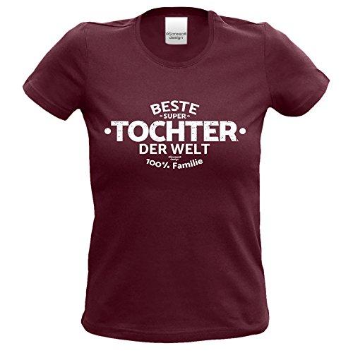 Girlie Damen Frauen T-Shirt :-: Geburtstagsgeschenk Muttertagsgeschenk Mädchen :-: Beste Tochter der Welt :-: Geschenkidee Kinder Teenager :-: Farbe: burgund Burgund