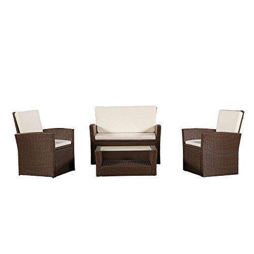 ArtLife Polyrattan Sitzgruppe Lounge Salvador (Braun) mit Tisch mit Bezügen in Creme |...