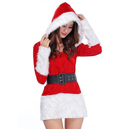 LUCKYCAT Räumungsverkauf Weihnachtskleid Mini Weihnachten Damen Santa Kostüm Weihnachtsfeier Phantasie Zwei Teile Kleid Cosplay Anzug Weihnachtsuniform (Weiß) (Damen-santa Anzüge)