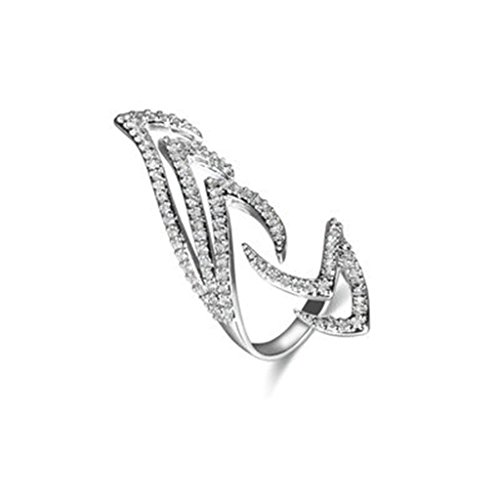 Bishiling Ring Damen Nagelringe AAA Zirkonia Geometrie Dameringe Mittel Ring Fingerring Silber