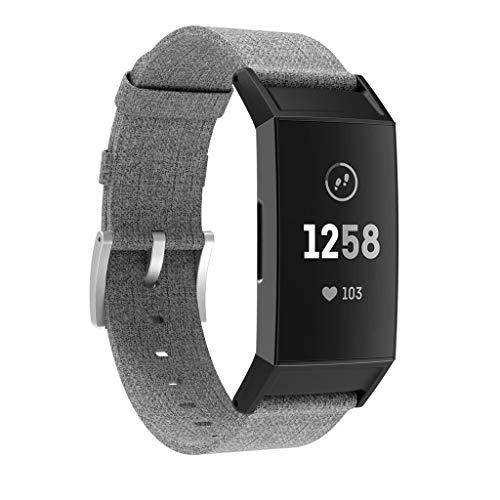 Für Fitbit Charge 3 Ersatz gewebte Canvas Fabric Watch Armbänder Bracelet Strap Wristband für Fitbit Charge 3 Fitness Sport Tracker Damen Herren Small-Large (Grau)