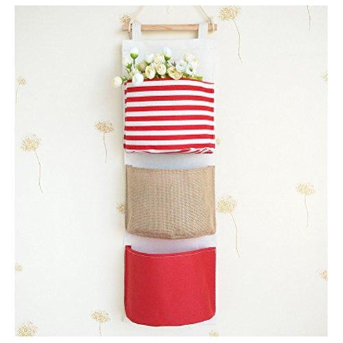 Borsa portaoggetti da parete colorato in stoffa organizzatore da appendere con 3 tasche tipo a rosso - Portaoggetti da parete ikea ...