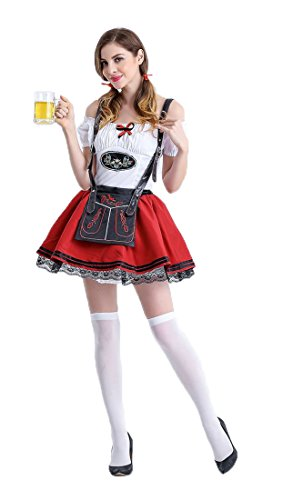 Honeystore Damen Halloween Kostüme The Munich Oktoberfest Fashion Uniform Cosplay Allerheiligen Kleider für Oktoberfest Rot-02 XL