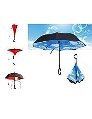 Double couche inversée parapluie voitures parasol inversé, protection UV coupe-vent mains libres parapluie (sky blue)