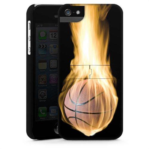 Apple iPhone 5s Housse Étui Protection Coque Basketball Feu Feu CasStandup blanc