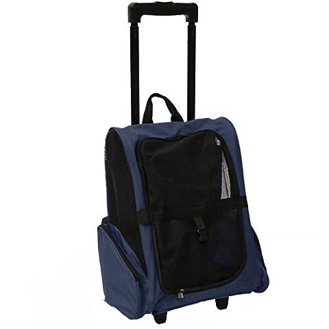 Mool Sac à dos de transport à roulettes et poignée télescopique pour animal domestique Bleu marine 36 x 30 x 49cm