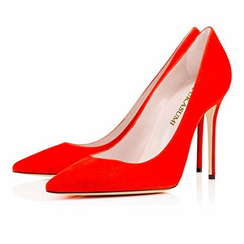 EDEFS Damenschuhe Faschion 10cm Gecollete Office High Heel Basic Pumps Schuhe Rot-S