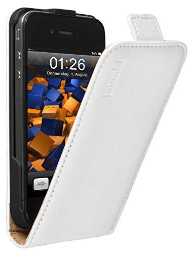 mumbi PREMIUM Leder Flip Case für iPhone 4 / 4S Tasche weiss