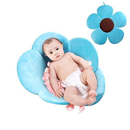 PER Flower Baby Bath Mat Bathtub Seats Portable Bath Tub Folding Pads Infant Bath Cushions-Blue