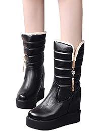 MYMYG Damen Boots Bottom Dicke Damen Kristall Stiefel Samt Warm Mittleres Rohr Stiefel Runde Kopf Boot Wasserdicht Walkingschuhe Freizeitschuhe Schlupfstiefe PU Lederschuhe